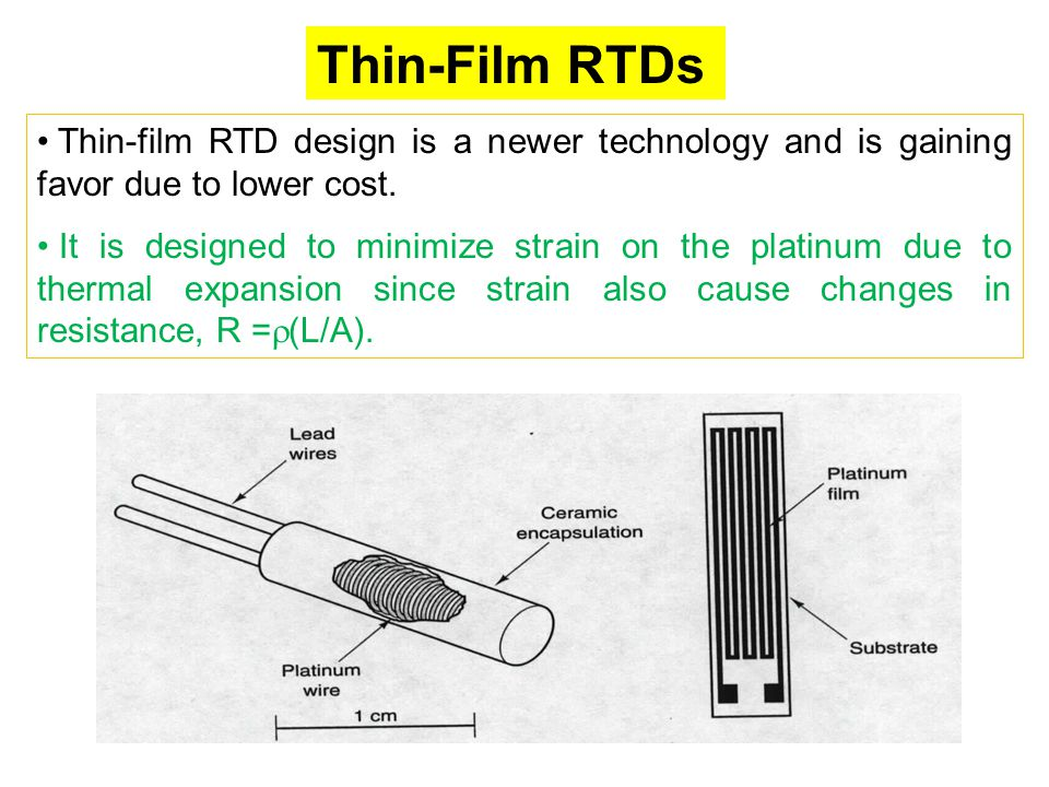 Thin-Film RTDs Thin-film RTD design is a newer technology and is gaining favor due to lower cost.