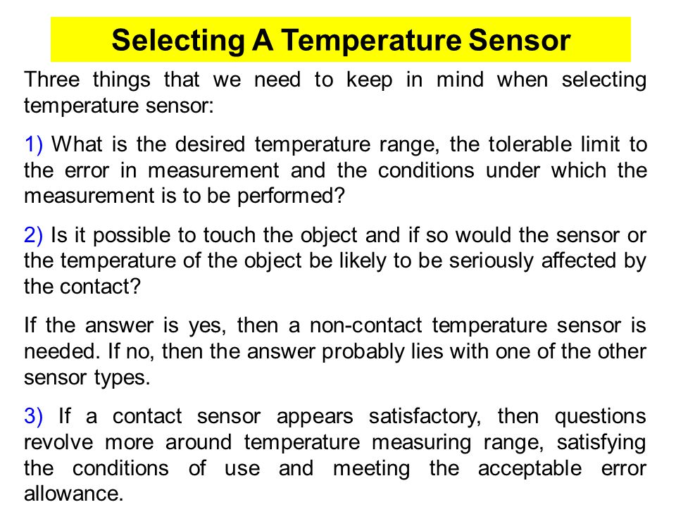 Selecting A Temperature Sensor