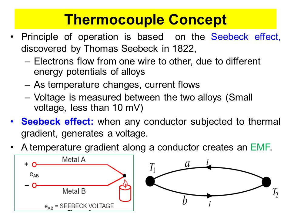Thermocouple Concept Principle of operation is based on the Seebeck effect, discovered by Thomas Seebeck in 1822,