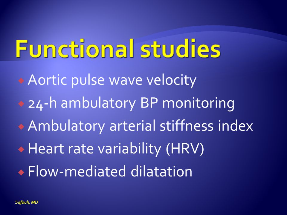 Functional studies Aortic pulse wave velocity