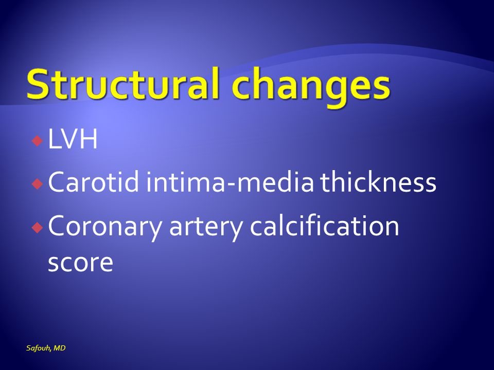 Structural changes LVH Carotid intima-media thickness