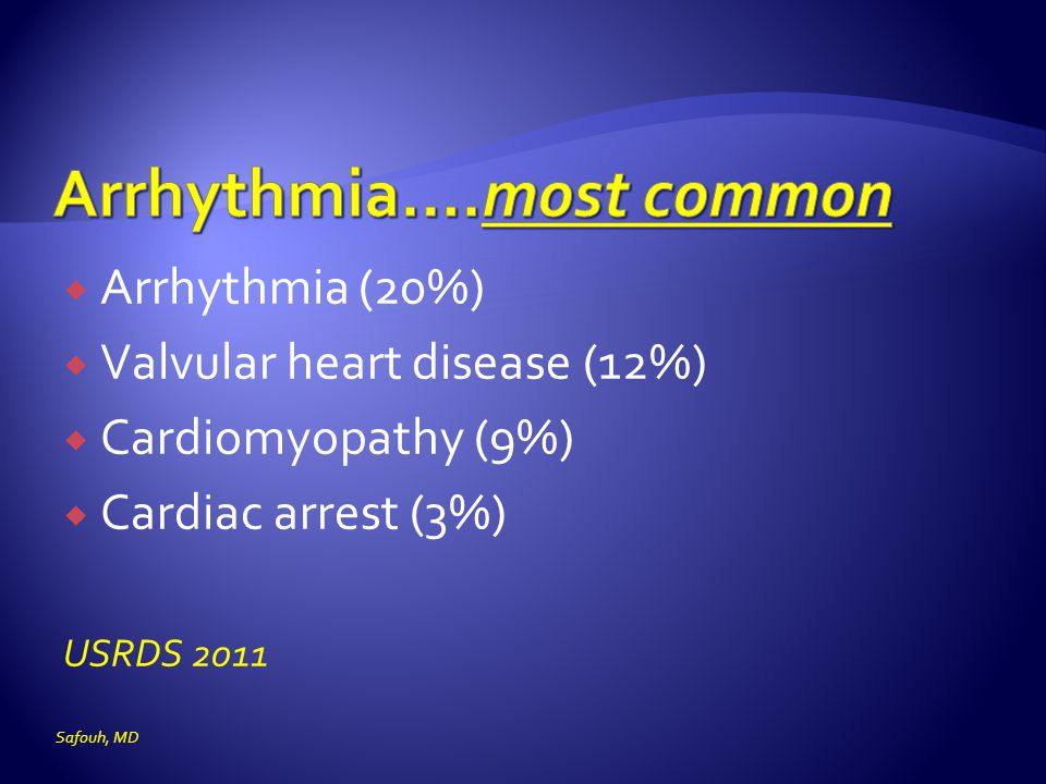 Arrhythmia….most common