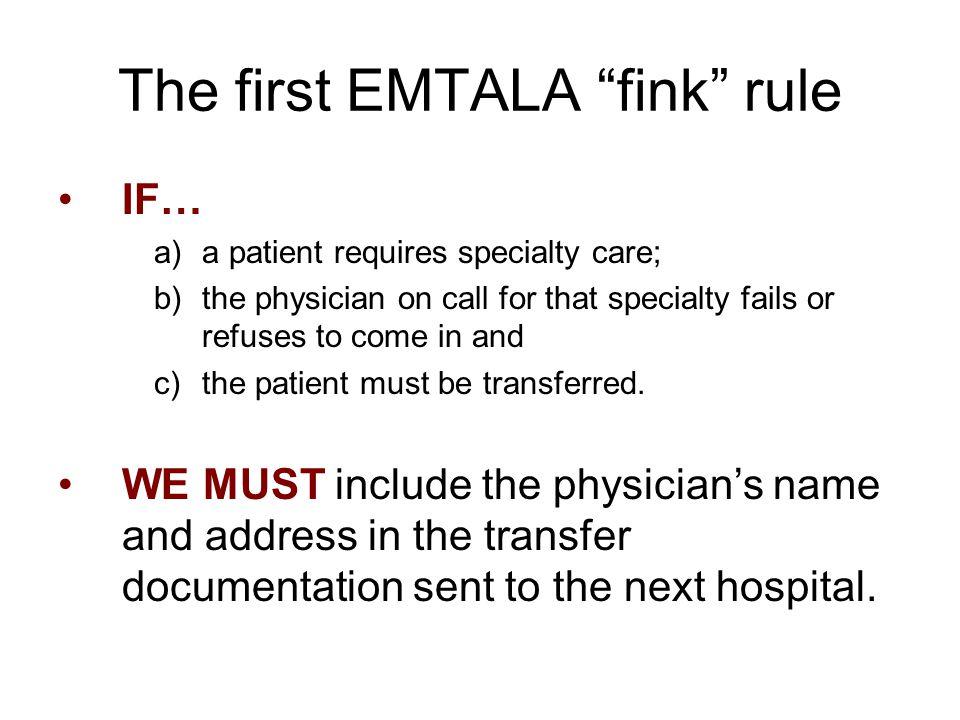 The first EMTALA fink rule