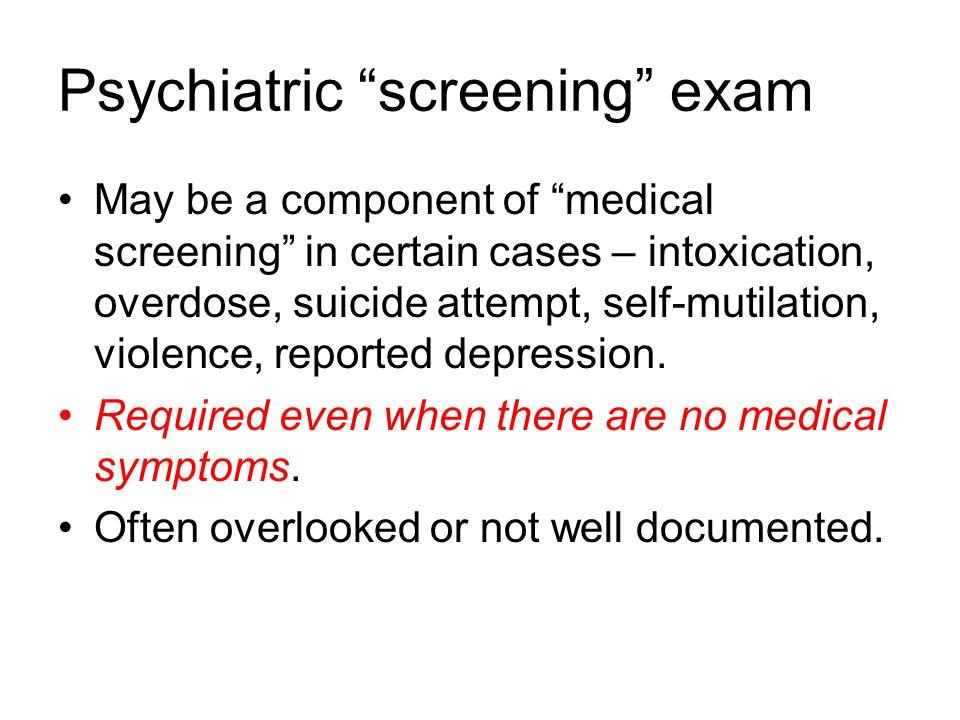 Psychiatric screening exam
