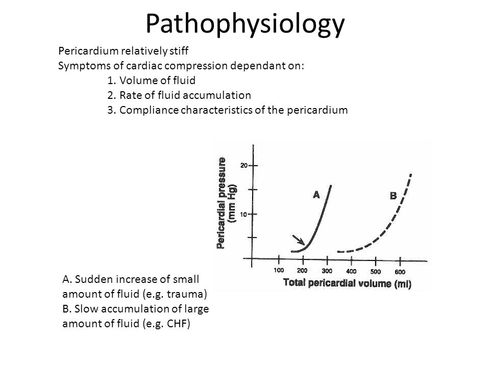 Pathophysiology Pericardium relatively stiff