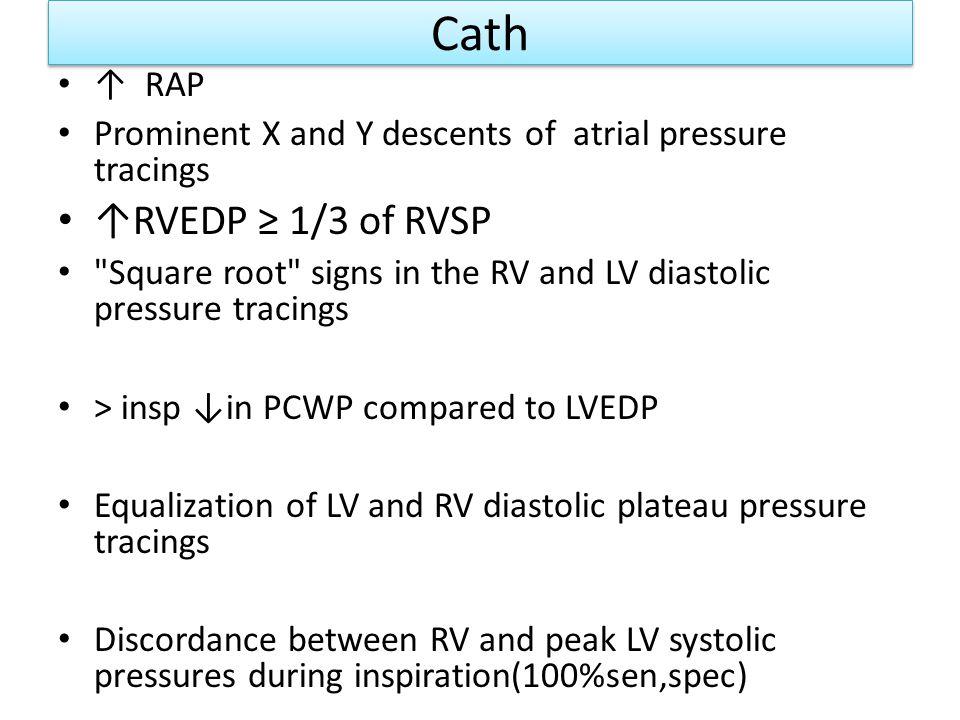 Cath ↑RVEDP ≥ 1/3 of RVSP ↑ RAP