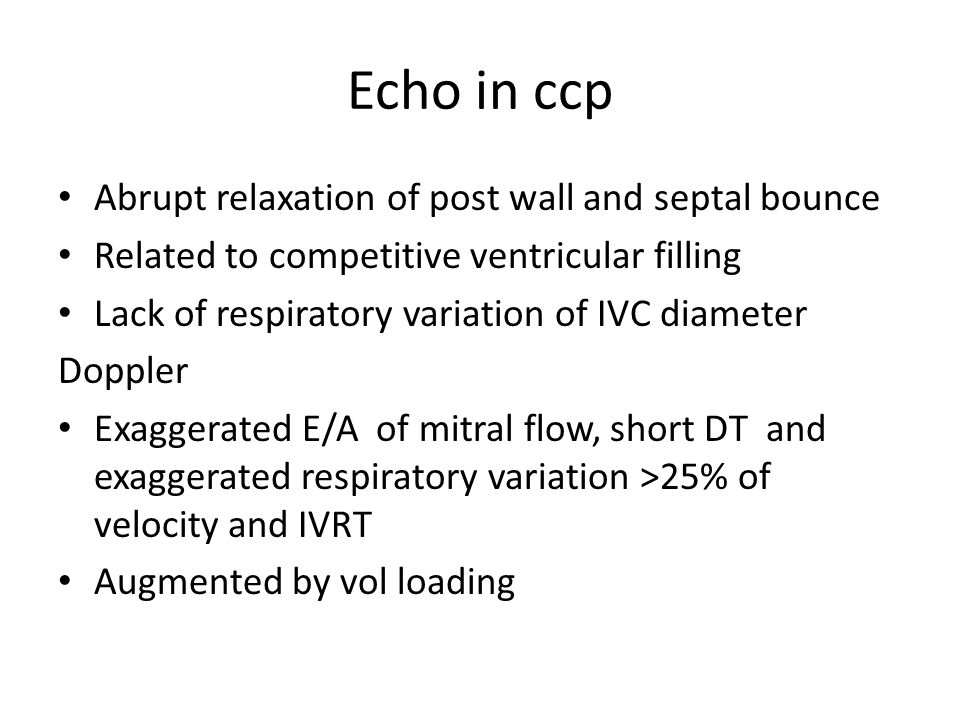 Echo in ccp Abrupt relaxation of post wall and septal bounce
