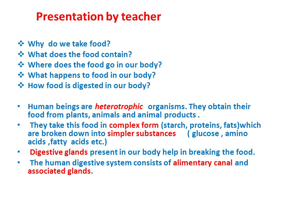 Presentation by teacher