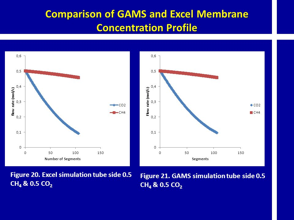 Comparison of GAMS and Excel Membrane Concentration Profile