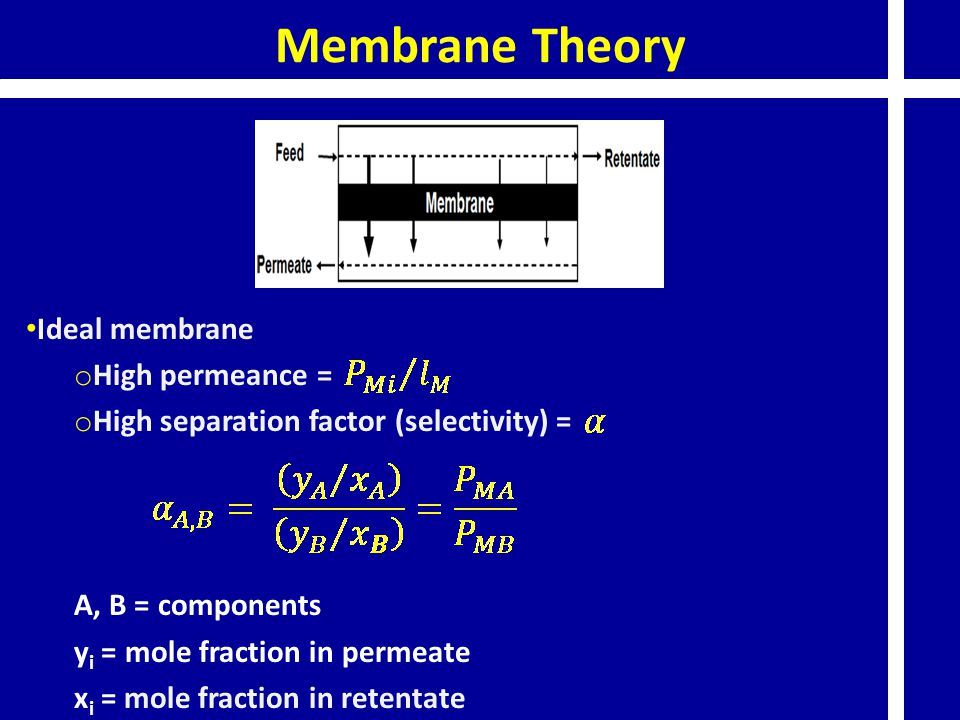 Membrane Theory Ideal membrane High permeance =