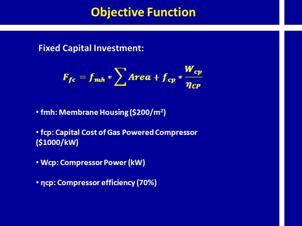 Objective Function Fixed Capital Investment: