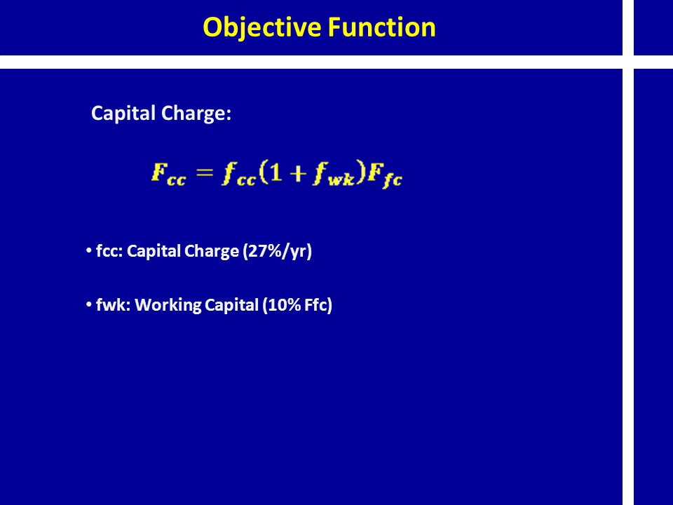 fcc: Capital Charge (27%/yr) fwk: Working Capital (10% Ffc)