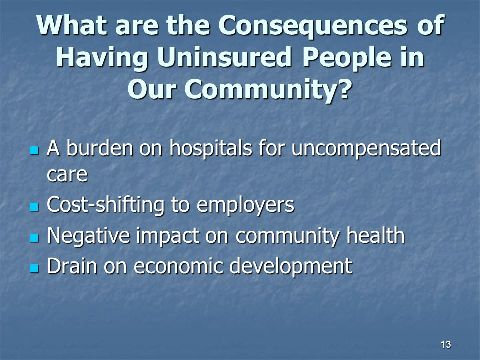 What are the Consequences of Having Uninsured People in Our Community
