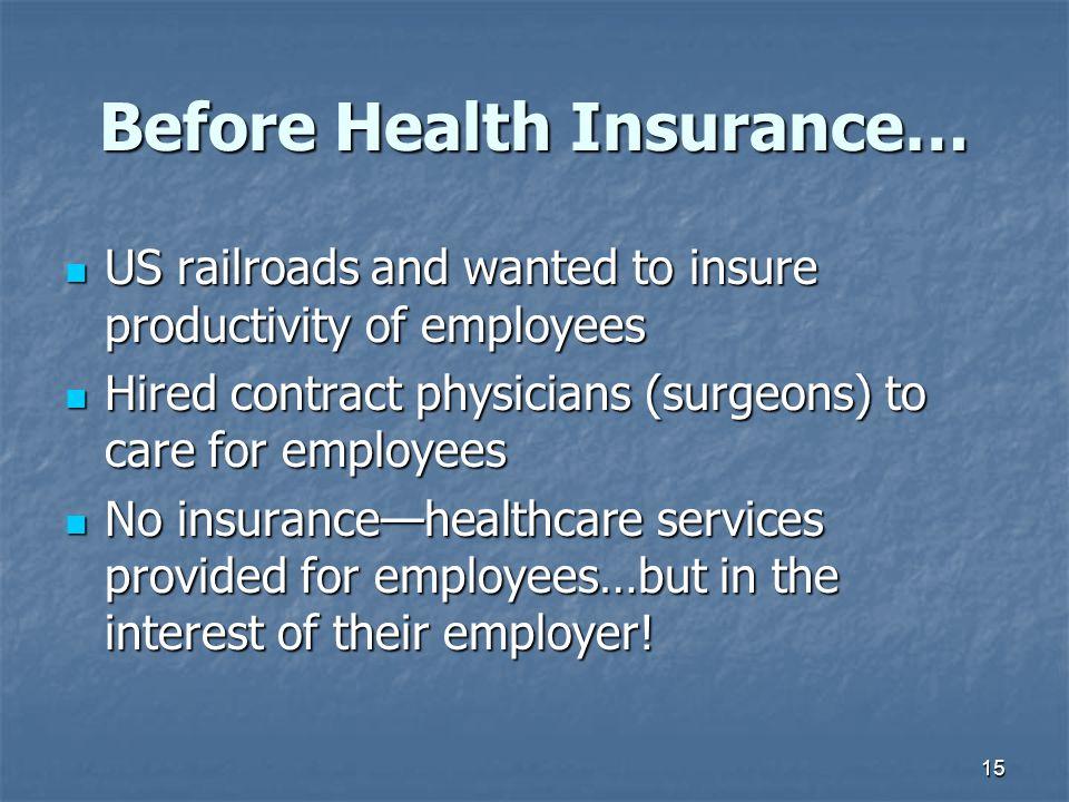 Before Health Insurance…