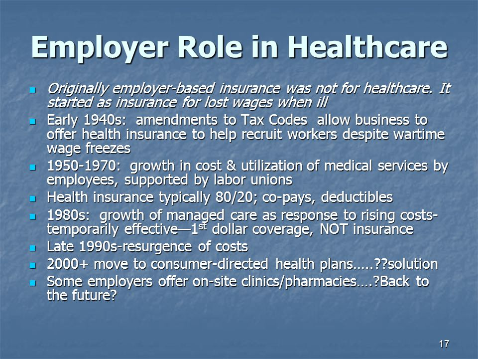 Employer Role in Healthcare