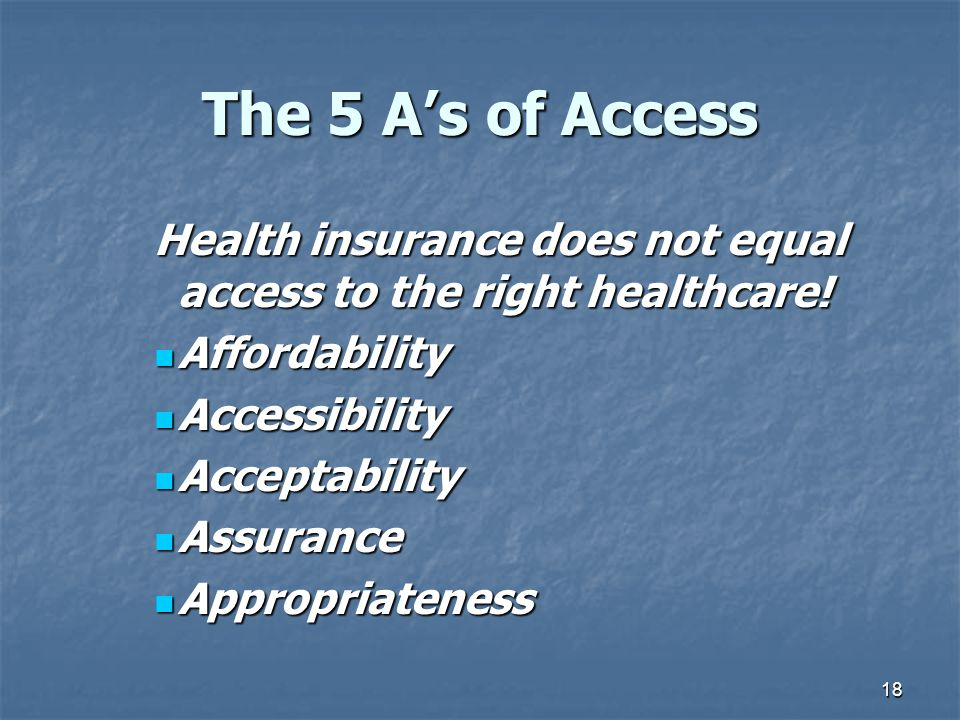 The 5 A's of Access Health insurance does not equal access to the right healthcare! Affordability.