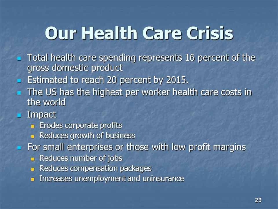Our Health Care Crisis Total health care spending represents 16 percent of the gross domestic product.