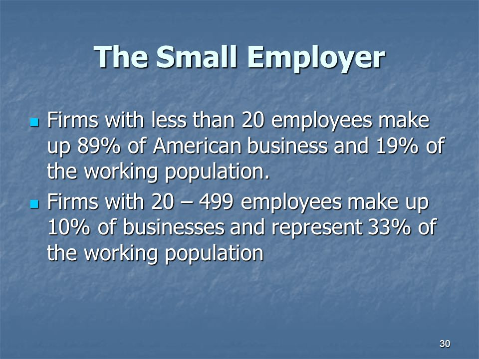 The Small Employer Firms with less than 20 employees make up 89% of American business and 19% of the working population.