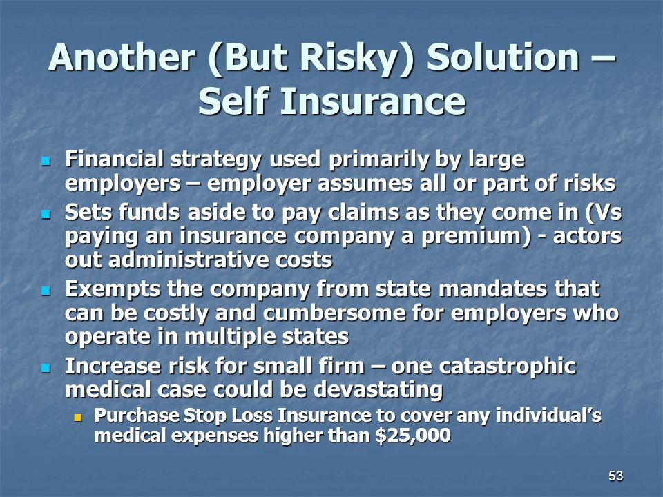 Another (But Risky) Solution – Self Insurance