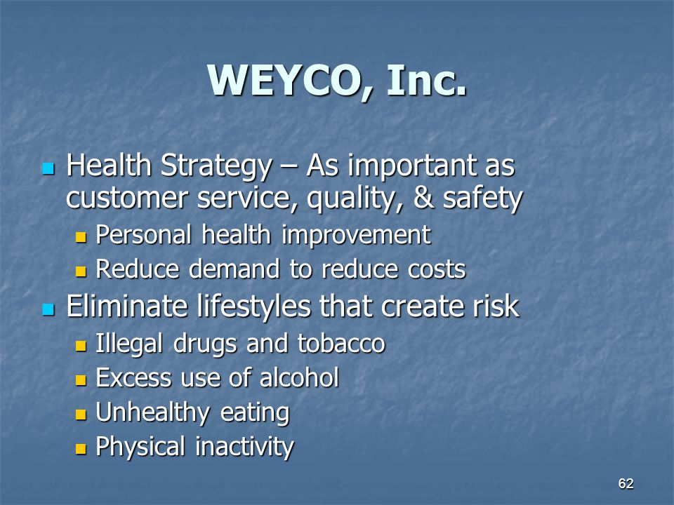 WEYCO, Inc. Health Strategy – As important as customer service, quality, & safety. Personal health improvement.