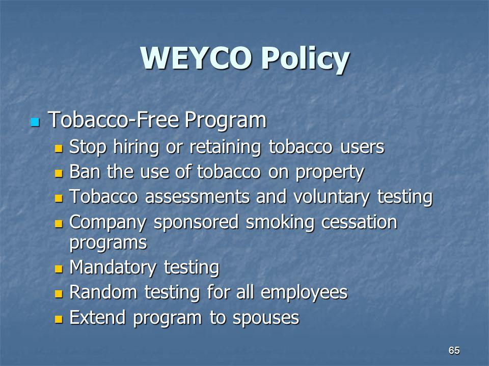 WEYCO Policy Tobacco-Free Program