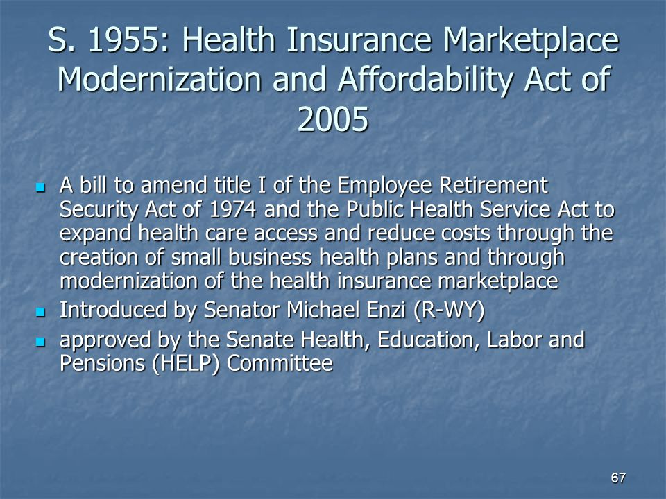 S. 1955: Health Insurance Marketplace Modernization and Affordability Act of 2005