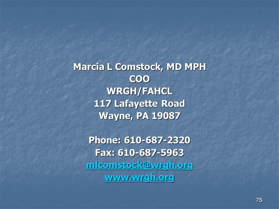 Marcia L Comstock, MD MPH