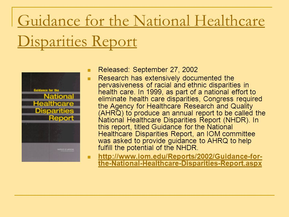 Guidance for the National Healthcare Disparities Report