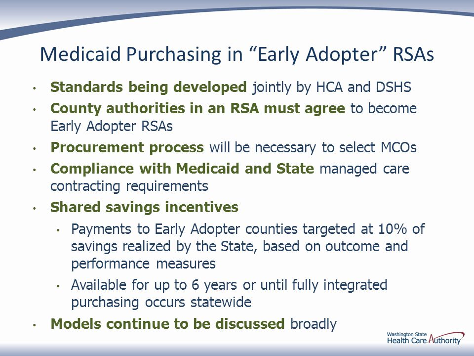 Medicaid Purchasing in Early Adopter RSAs