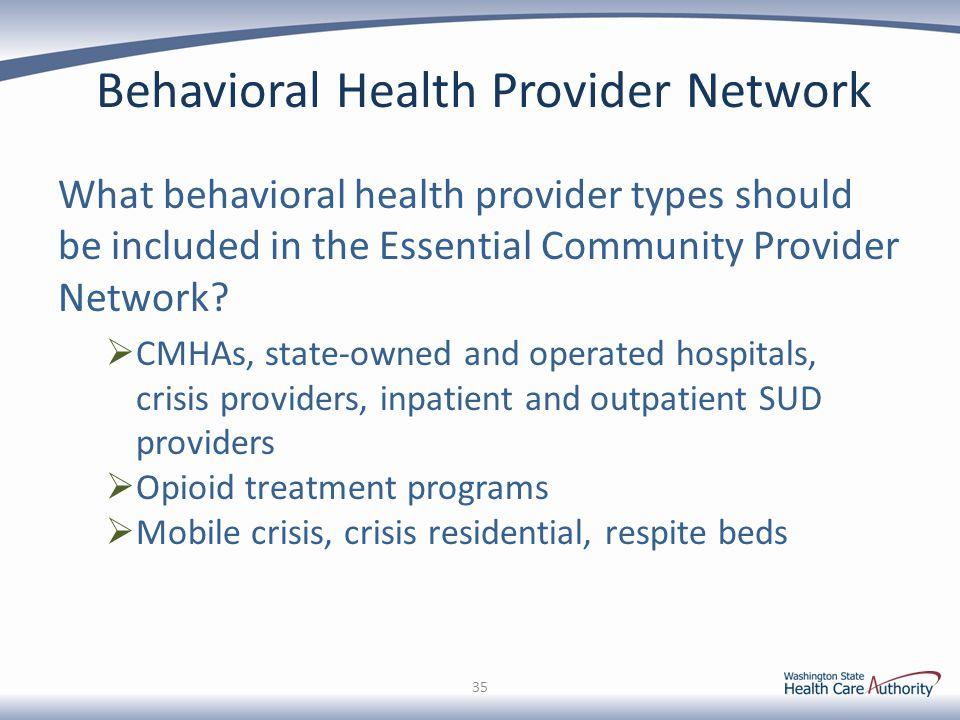 Behavioral Health Provider Network