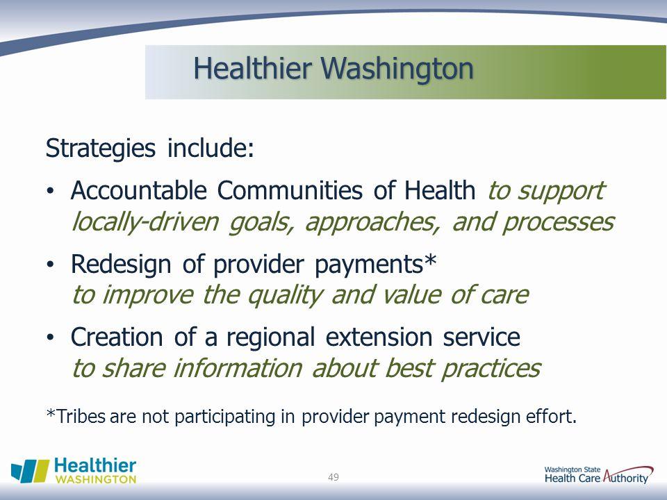 Healthier Washington Strategies include: