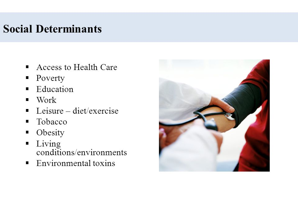 Social Determinants Access to Health Care Poverty Education Work
