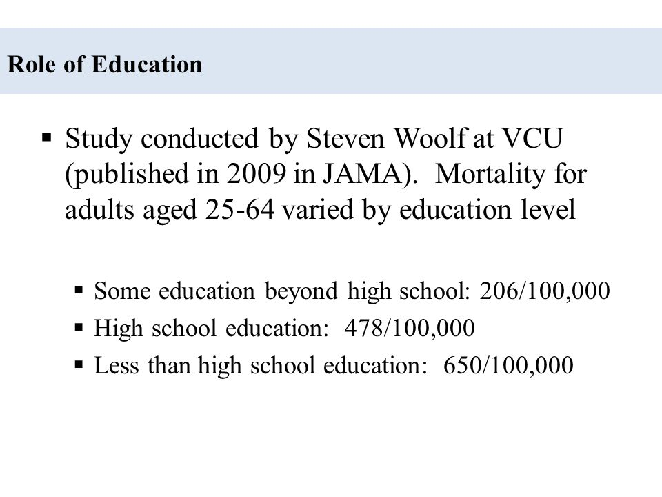 Role of Education Study conducted by Steven Woolf at VCU (published in 2009 in JAMA). Mortality for adults aged 25-64 varied by education level.