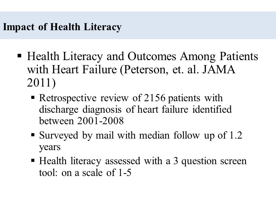 Impact of Health Literacy