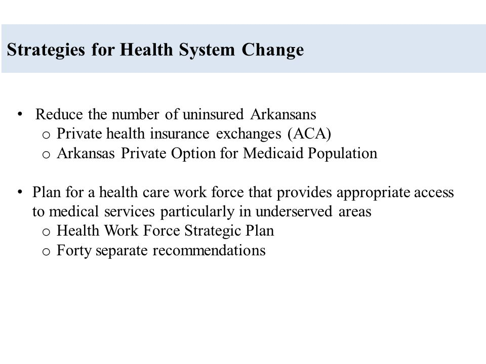 Strategies for Health System Change