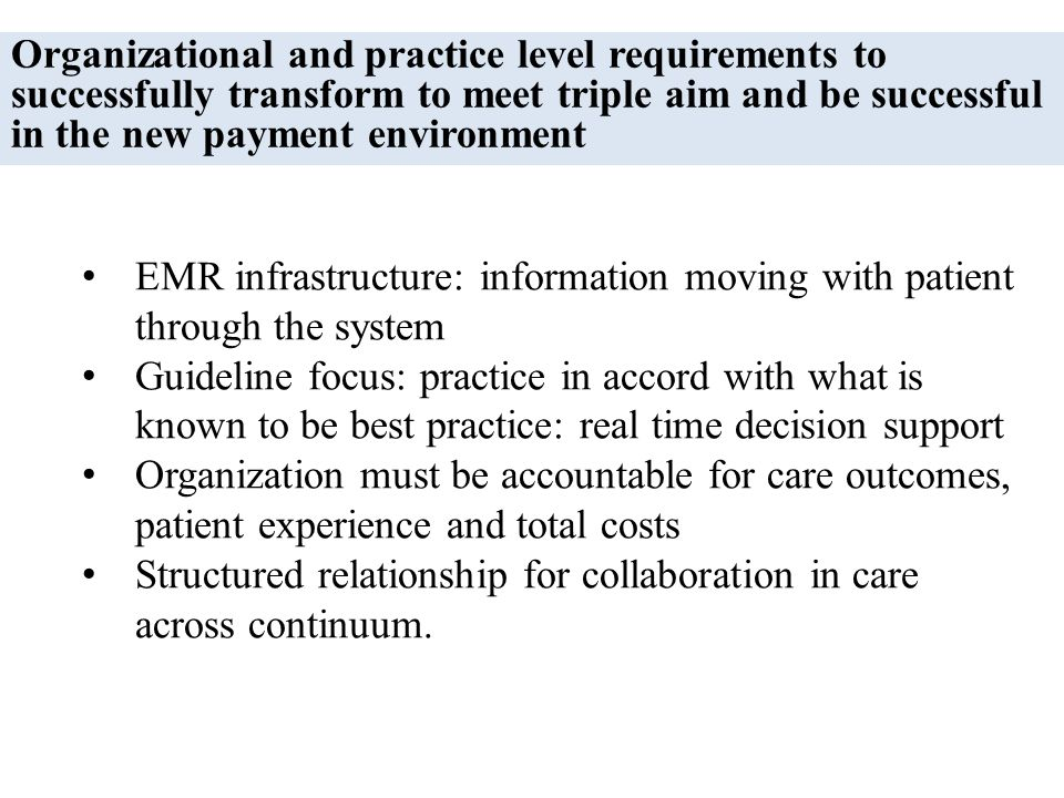 Organizational and practice level requirements to successfully transform to meet triple aim and be successful in the new payment environment