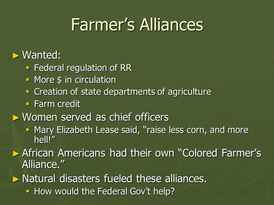 Farmer's Alliances Wanted: Women served as chief officers
