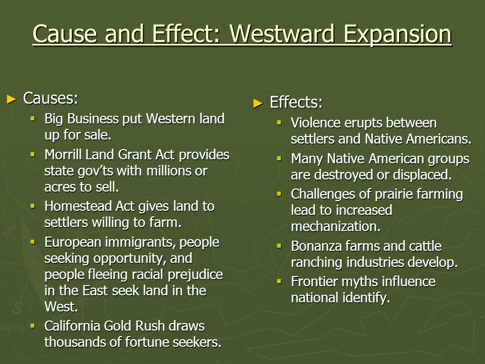 Cause and Effect: Westward Expansion