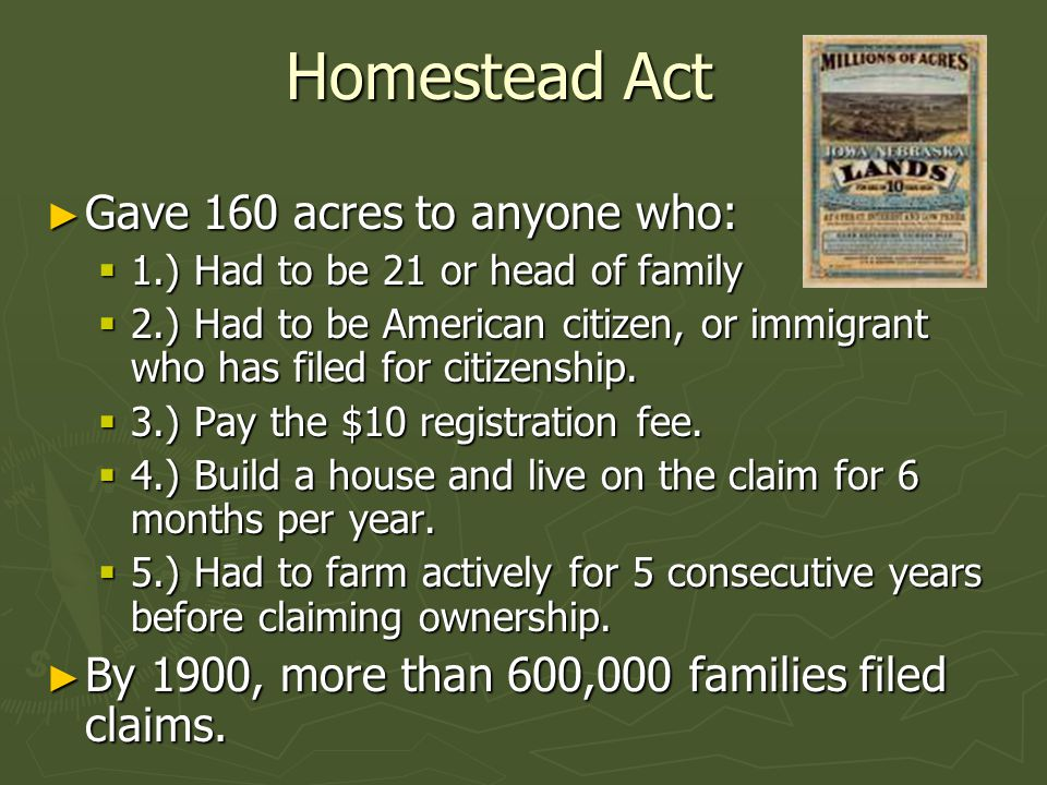 Homestead Act Gave 160 acres to anyone who: