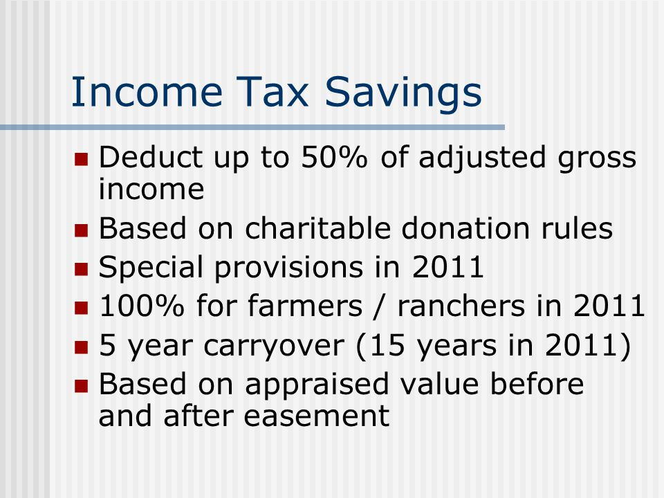 Income Tax Savings Deduct up to 50% of adjusted gross income