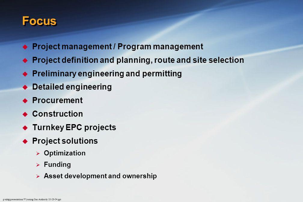 Focus Project management / Program management