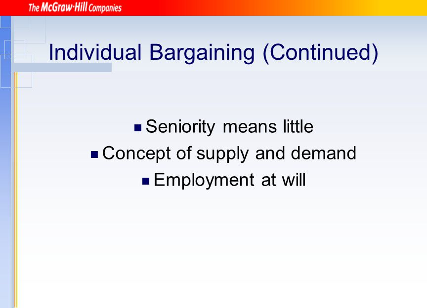 Individual Bargaining (Continued)