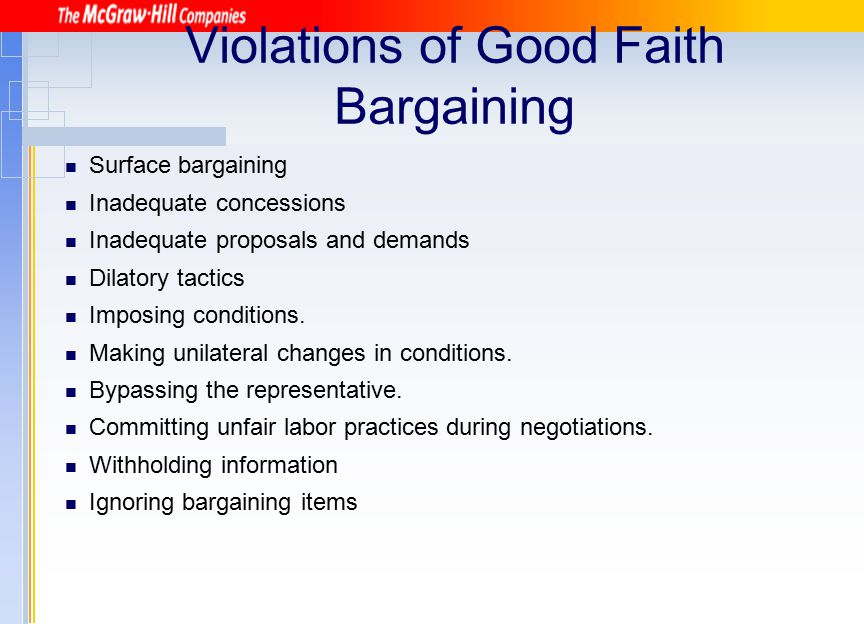 Violations of Good Faith Bargaining