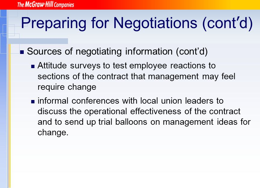 Preparing for Negotiations (cont'd)