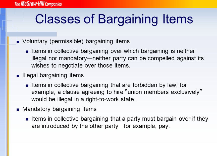 Classes of Bargaining Items