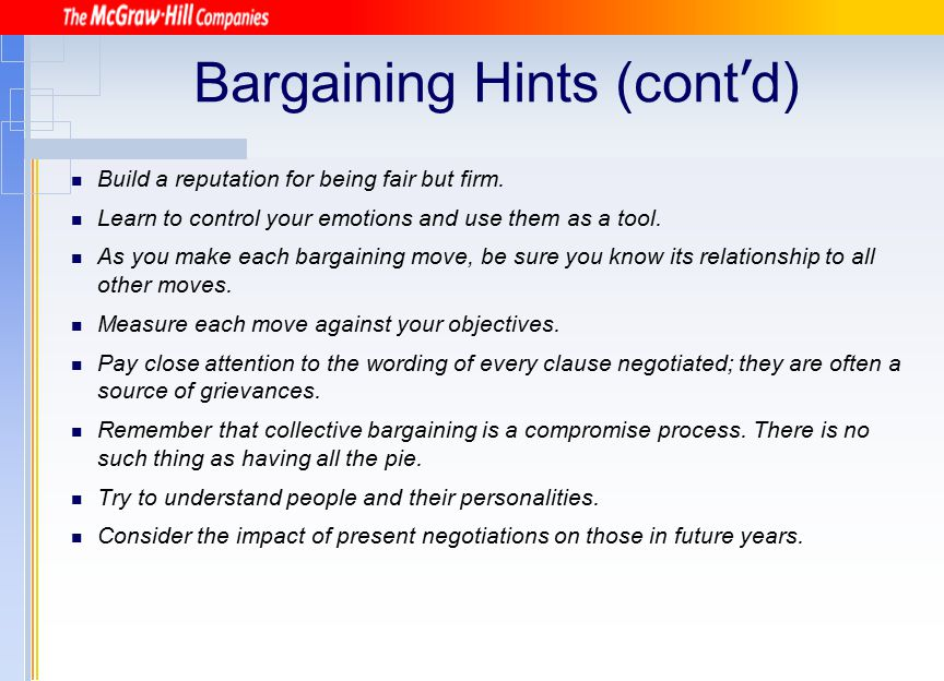 Bargaining Hints (cont'd)