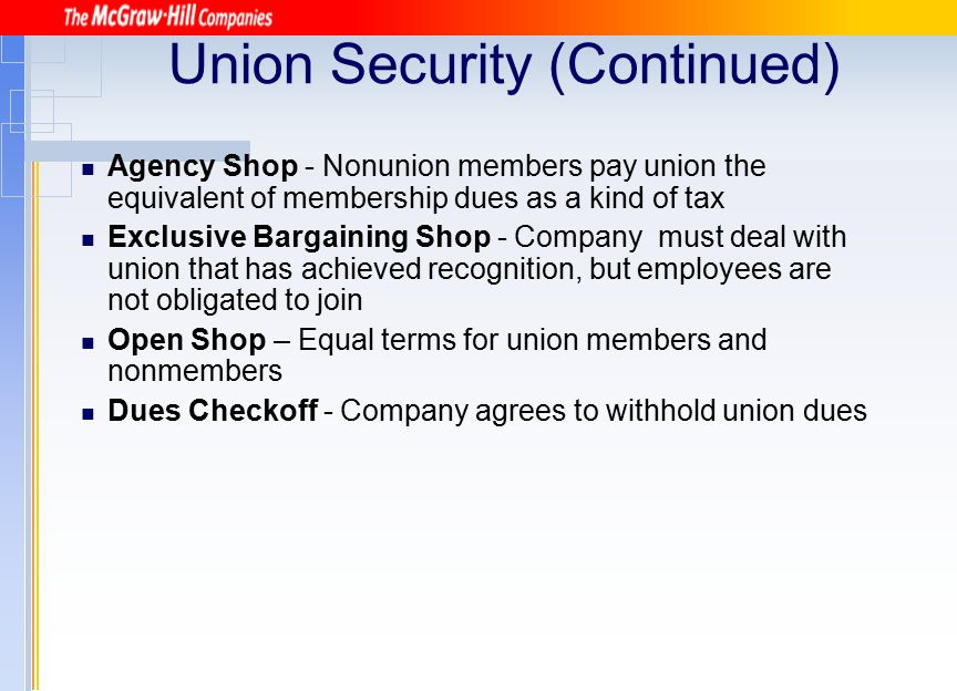 Union Security (Continued)