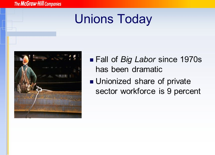 Unions Today Fall of Big Labor since 1970s has been dramatic