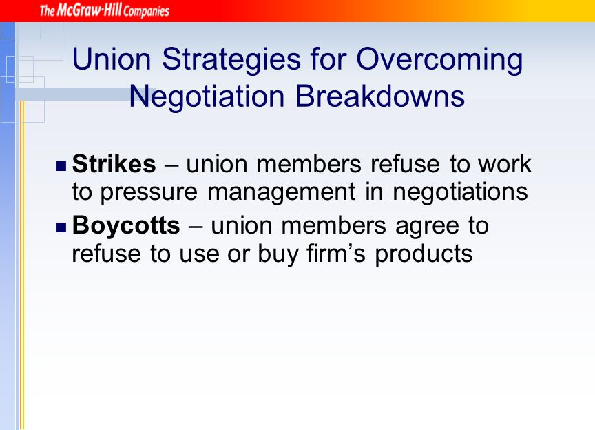 Union Strategies for Overcoming Negotiation Breakdowns