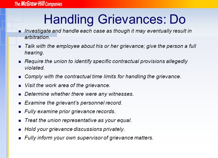 Handling Grievances: Do